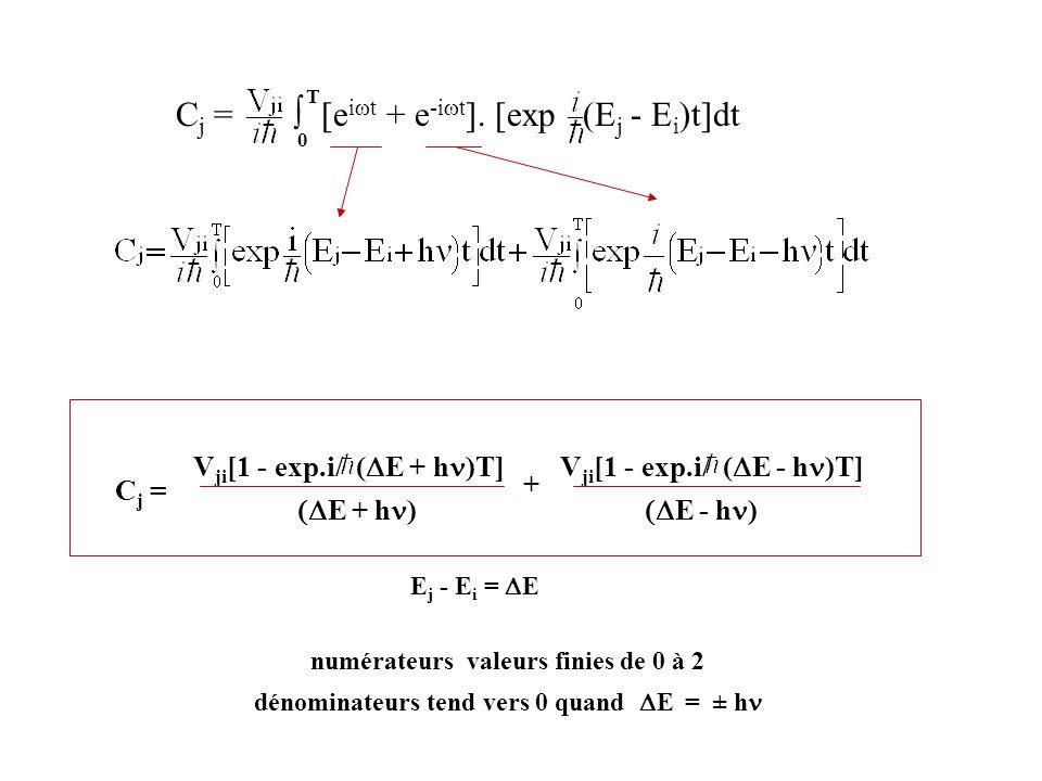 Cj = ∫ [eiwt + e-iwt]. [exp (Ej - Ei)t]dt